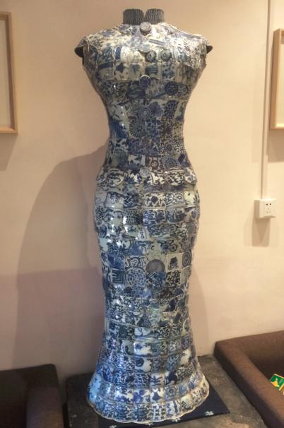青衣系列古瓷衣服-清代青花旗袍